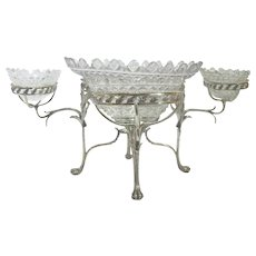 Antique GEORGE III Fine Sterling Silver & Cut Crystal EPERGNE Centerpiece London 1800