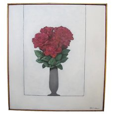SALLY HALEY Untitled Botanical ROSE Bouquet Still Life Framed Oil Painting