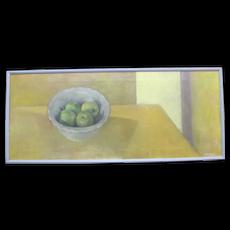 SALLY HALEY Oregon Art Untitled Fruit APPLES Still Life Framed Oil Painting