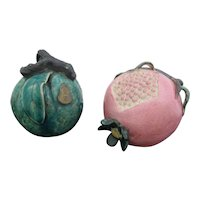 Antique Chinese Export Porcelain Temple Offering Alter Fruit APPLE & POMEGRANATE