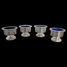 Vintage STERLING Silver Cobalt Blue Glass 4pc Open SALT Cellar Set