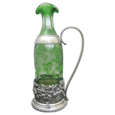 Emerald Green BOHEMIAN Glass Silver Grapes WINE Carafe Pitcher with Stopper England