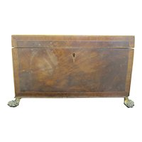 Antique Wood TRINKET Jewelry 2 Compartment Box on LION PAW Feet