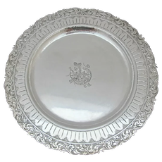 """ORNATE Antique FLOWER Engraved 900 Silver 10.5"""" Round Tray Plate Dish"""