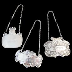 Antique STERLING Silver Ornate Liquor & Wine Labels PORT Sherry & BRANDY