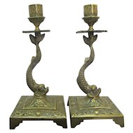 Antique BRASS Metal Figural DOLPHIN Fish Candlestick Candle Holder Pair