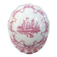 Vintage CHINESE Pink Figural BOY Design SHELL Shape Porcelain Bowl Dish