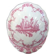 Vintage CHINESE Pink Figural BOY Design SHELL Shape Porcelain Bowl Dish