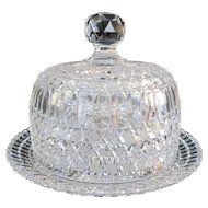 American BRILLIANT Clear Cut Glass CRYSTAL Butter Cheese Serving Dish Dome Lid