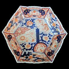 Japanese Hand Painted IMARI Scalloped HEXAGON Dish Plate Shallow Bowl