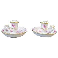 MEISSEN Porcelain Gold Gilt Purple INDIAN FLOWER Candlestick Holder Set of 2