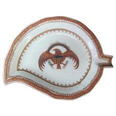 CHINESE Export Porcelain HAWK Bird Design Leaf Shaped Dish
