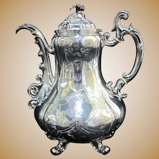 French NAPOLEON III 19th Century 800 Fine Silver Minerva Mark Coffee Pot