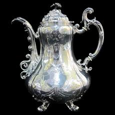 French NAPOLEON III 19th Century 800 Fine Silver Minerva Mark Coffee Pot