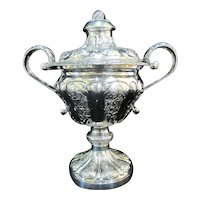 Ornate FRENCH 19th Century Sterling Silver REPOUSSE Floral Large Covered Cup