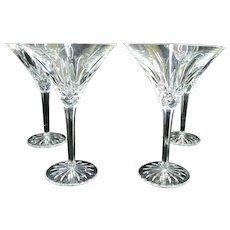WATERFORD Crystal Martini Glass 4pc Set LISMORE Pattern