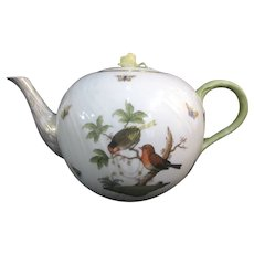 HERENED Rothschilds BIRD Butterfly Insect Yellow FLOWER Finial Porcelain Teapot