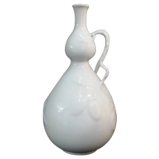 HEREND White Blanc de Chine Double Gourd BUTTERFLY Berry Branch Vase