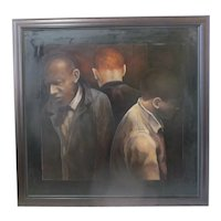 Large Modern Art PORTRAIT Oil Painting of 3 MEN Signed BERNER 1994