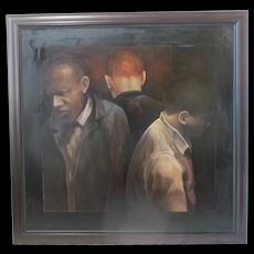 Large Modern Art PORTRAIT Oil Painting of 3 MEN Signed BERNER 1994