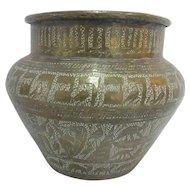 Vintage BRASS Hand Hammered Figural Scene EGYPTIAN Bowl VASE Jar