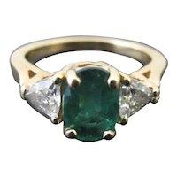 vintage ART DECO Diamond & Green EMERALD 14k Yellow Gold Ring