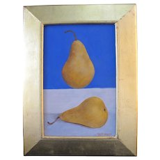 SALLY HALEY Pacific NW Tempera Still Life Painting of Pears on Blue