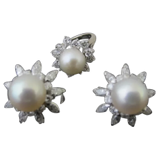 Cultured PEARL & DIAMOND 14k Gold Pinky Ring and Omega Back FLOWER Earring Set - Free Ring Resizing