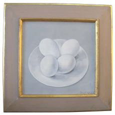 SALLY HALEY Pacific NW Art Tempera Still Life Painting of 4 Eggs on Plate