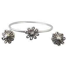 Fine TIFFANY & Co.Sterling Silver Wire BRACELET & Post Earrings FLOWER Set