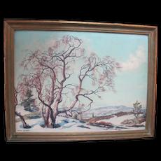KARL OUREN Antique OLD Mountain BIRCH Snowy Fann Landscape Painting