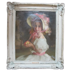 LOUIS BETTS Framed Portrait Oil Painting of Young Girl APPLE BLOSSOMS