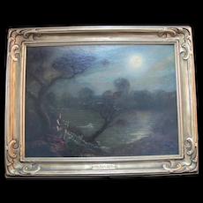 CLAUDE BUCK The FULL MOON Avant Garde Dark Tone Antique Oil Painting