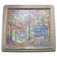 Antique Henry A BRANDT Scenic FOREST Oil Painting LOG Cabin AUTUMN