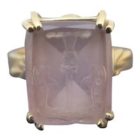 Amethyst INTAGLIO 14k Gold Art Noveau Latin For the KING the LAW the PEOPLE Ring