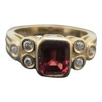 ART DECO Style Round Brilliant Cut DIAMOND Red SAPPHIRE 14k Yellow Gold Ring