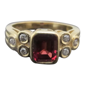 ART DECO Style Round Brilliant Cut DIAMOND Red SAPPHIRE 14k Yellow Gold Ring