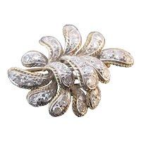 EDWARDIAN 14k Gold Old European Cut DIAMOND Intricate Leaf Brooch Pin
