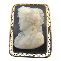 Antique VICTORIAN 14k Gold Filigree FRENCH Jet Female Cameo Brooch Pin Pendant
