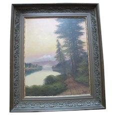 JOHN J ENGLEHART J Hart Sunset on LAKE TAHOE California Antique Landscape Painting