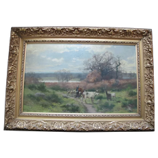 Antique 19th Century PASTORAL Farm Cattle Oil Painting in Period Gilt Frame