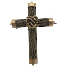 VICTORIAN 14k Rose Gold MOURNING Hair Cross Brooch Pin With Heart