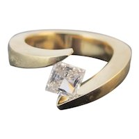 MODERNIST  Cubic Zirconia 14k Yellow Ring Size 5