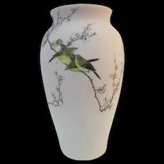 Japanese TAKEUCHI Chiubei Pale Pink Shark Skin Glaze MEIJI Bird & Blossom Vase