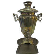 BRASS Antique 19th Century Hot Coffee Tea Water SAMOVAR Warmer w/Tray