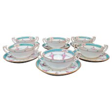 "Stunning Minton 12 piece china bouillon soup cup and saucer set (6 cups, 6 saucers) in Persian Rose pattern. Green lattice on white with dainty pink flowers.   Each plate saucer measures 5 3/4"", each cup measures 4 3/4"" wide x 4"" x 2"" tall.  All piec"