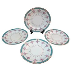 "MINTON Older China Plate Set of 6 PERSIAN ROSE 10 1/4"" Dinner Plates"