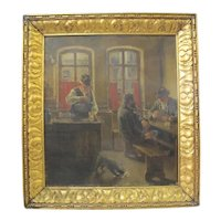 REINHOLD WERNER c1925 German TAVERN Scene Oil Painting Gold Gilt Frame