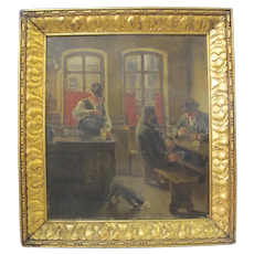 REINHOLD WERNER c1925 German TAVERN Scene Oil Painting Gold Gilt Frame