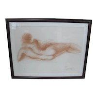 SALVADOR DALI Limited Edition Lithograph FEMME NU de DOS Nude Female Portrait